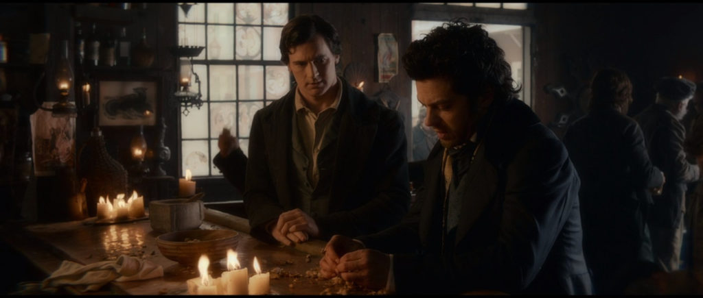 Abraham Lincoln (Benjamin Walker) and Henry Sturges (Dominic Cooper) sit at a bar in Abraham Lincoln: Vampire Hunter